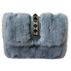 Valentino Lock Small Mink-Fur Shoulder Bag