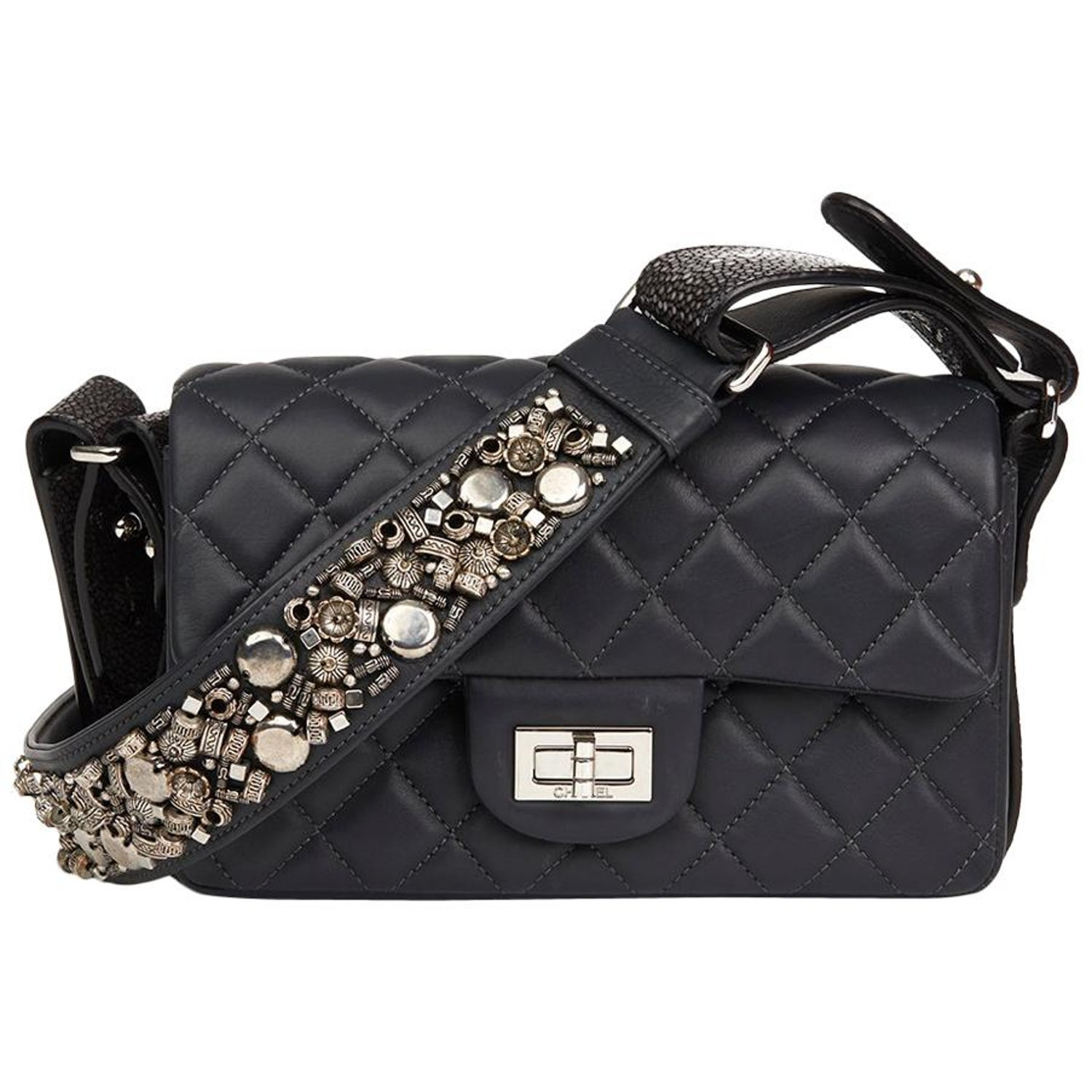 c96e0974b10a 2012 Chanel Blue Lambskin and Galuchat Stingray 2.55 Reissue 224 Single Flap  Bag at 1stdibs