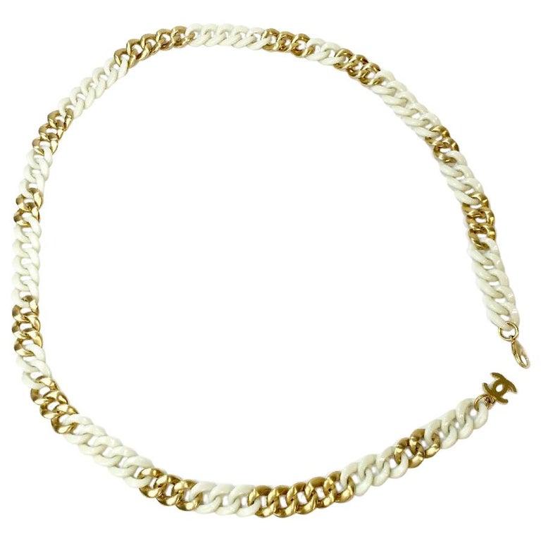 CHANEL Belt Chain in White Plexiglass and Gilt Metal