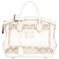 2012 Louis Vuitton White Monogram Transparence Nylon & Calfskin Leather Lockit
