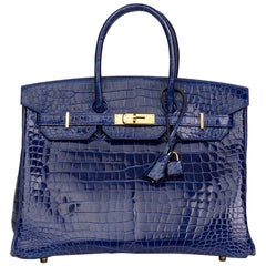 2013 Hermès Blue Saphir Shiny Porosus Crocodile Leather Birkin 35cm