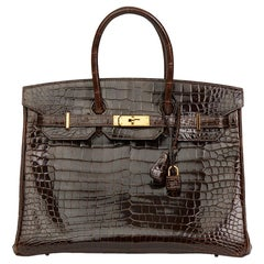 2013 Hermès Chocolate Brown Shiny Porosus Crocodile Leather Birkin 35cm