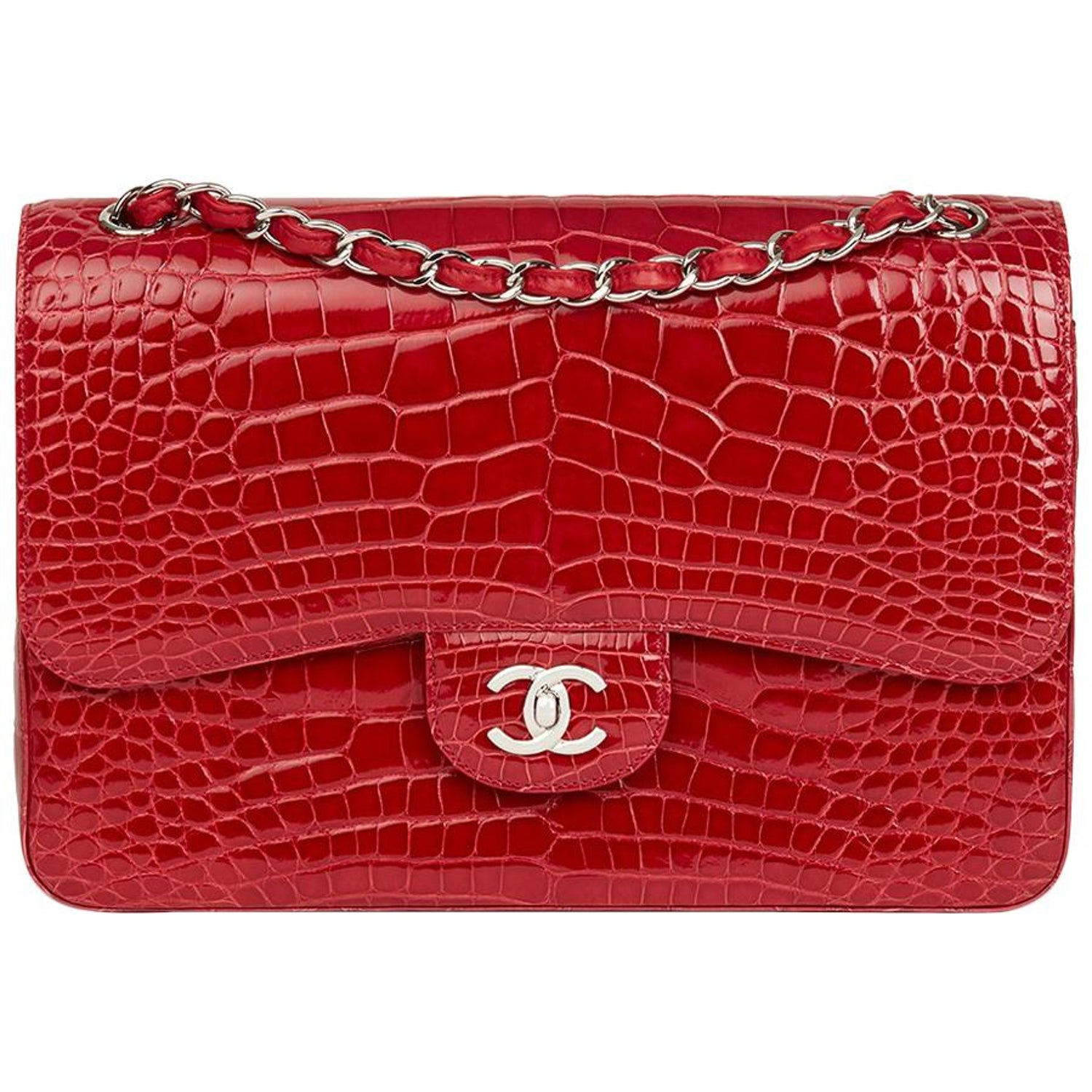 d728d7146c34b7 2013 Chanel Red Shiny Mississippiensis Alligator Jumbo Classic Double Flap  Bag at 1stdibs