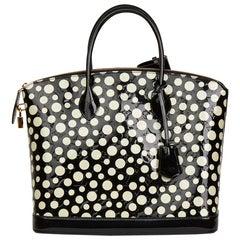 2012 Louis Vuitton Black Vernis Leather Dots Infinity Yayoi Kusama Lockit MM