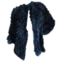 Yves Saint Laurent Rive Gauche 1970's Black Maribou Ostrich Feather Coat