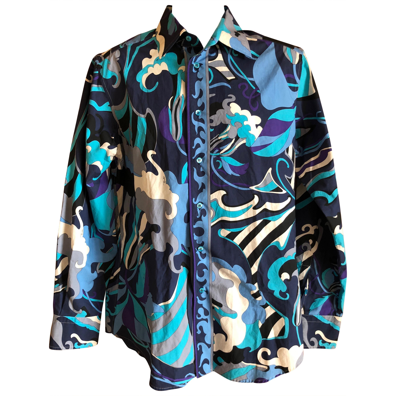f7a5015b644a95 Emilio Pucci Rare Men's Cotton Shirt Size M For Sale at 1stdibs