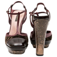 LOUIS VUITTON High Heels Sandals in Burgundy Leather and Lizard and Brown Velvet