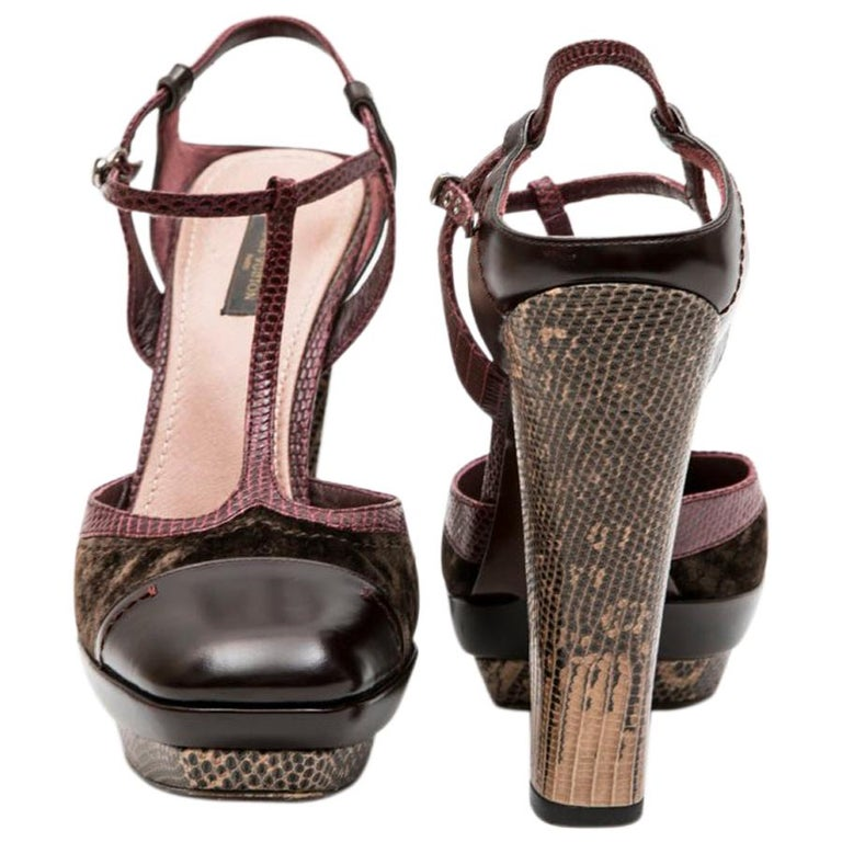 80c058a9db6 LOUIS VUITTON High Heels Sandals in Burgundy Leather and Lizard and Brown  Velvet For Sale