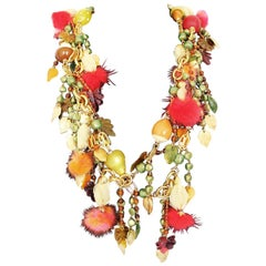 Carlo Zini Autumn Fruits Necklace with Mink Puff
