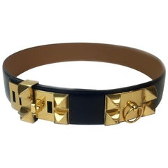 HERMES Collier de Chien Belt in Black Box Leather Size 90