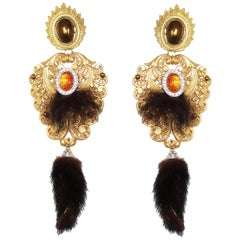 Carlo Zini Golden Autumn Pendants with Mink Tails