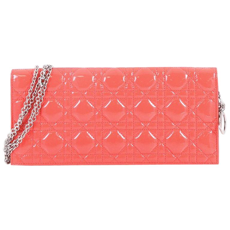 25e89fdf5b Christian Dior Lady Dior Chain Convertible Clutch Cannage Quilt Patent Lo  For Sale