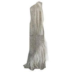 S/S 2000 Jean Louis Scherrer Haute Couture Look 16 Sequin Silver Mesh Dress