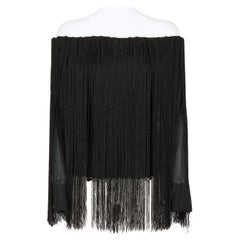 1990s, Lanvin Vintage Black Fringed Top