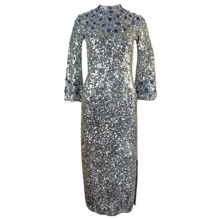 1950s Gene Shelley Blue Crystal & Silver Sequin Stretch Knit Dress For Sale