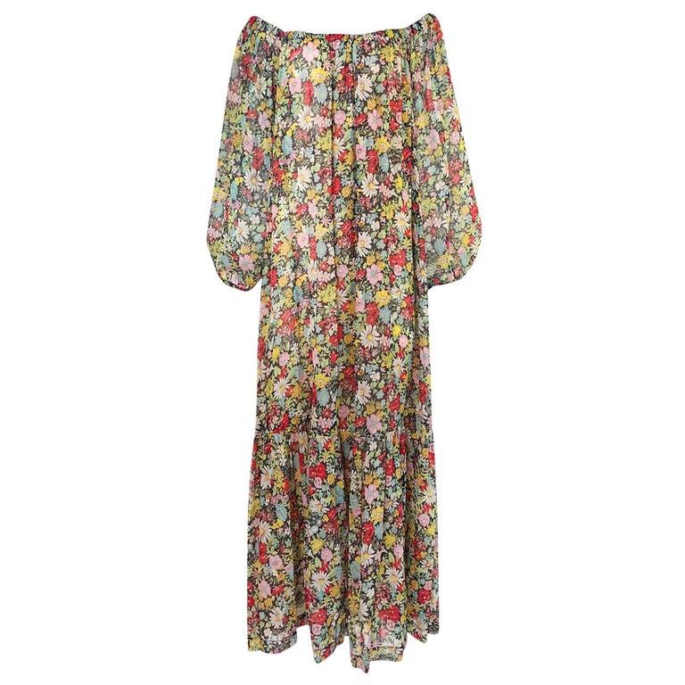 Documented 1975 Yves Saint Laurent Floral Print Off Shoulder Dress
