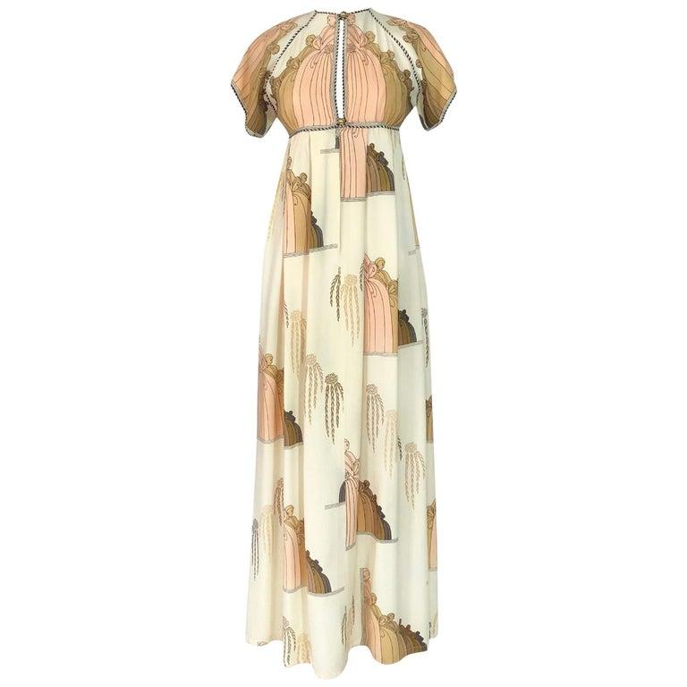 1960s Jean Varon Slit Front Empire Waist Art Deco Print Dress For Sale