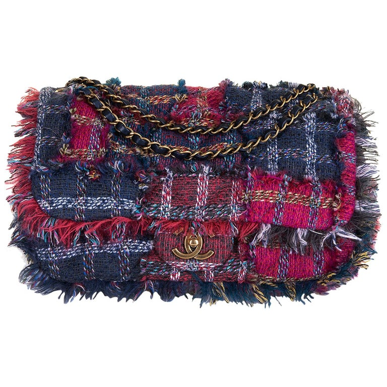 Gorgeous Chanel 'Jumbo' Sac Timeless in Multi-coloured Wool Tweed For Sale
