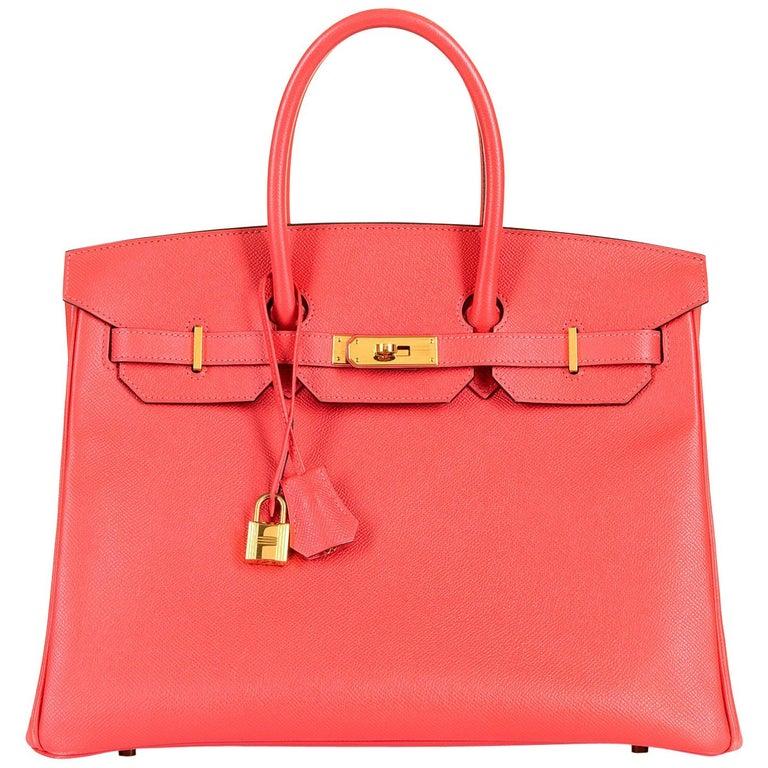 Sensational Pristine Hermes 35cm Birkin Bag in 'Rose Jaipur' Epsom Leather - GHW