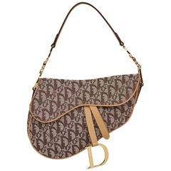 2002 Christian Dior Brown Monogram Canvas Saddle Bag