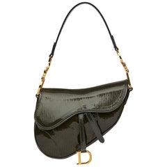 2000 Christian Dior Olive Green Monogram Patent Leather Mini Saddle Bag