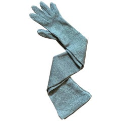 Patrick Kelly 1980s Grey Rib Knit Long Gloves