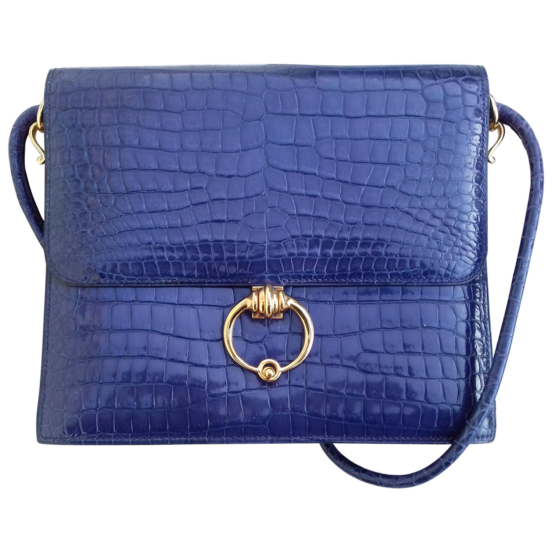 Hermès Vintage Sequana Bag Magic Purple Blue Porosus Crocodile Golden Hdw RARE
