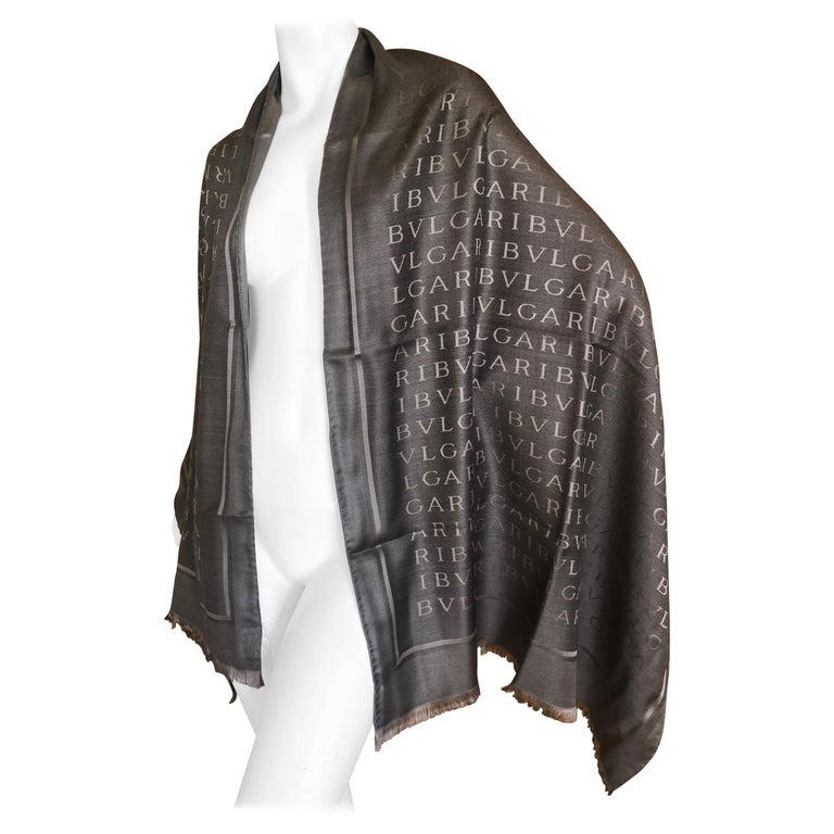 Bulgari Large Wide Gray Silk Logo Shawl Scarf New in Box