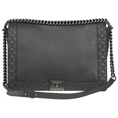 2014 Chanel Grey Quilted Calfskin Leather XL Le Boy Reverso
