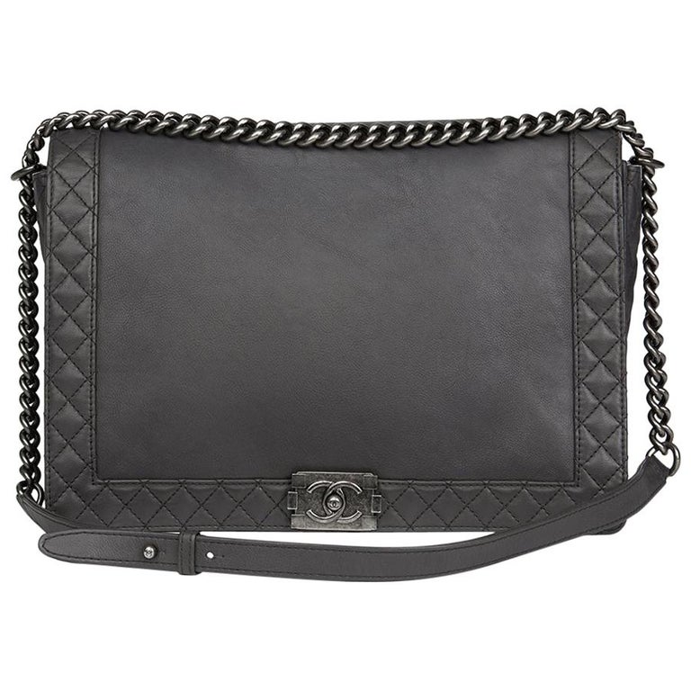 5684053b7d0b 2014 Chanel Grey Quilted Calfskin Leather XL Le Boy Reverso For Sale ...