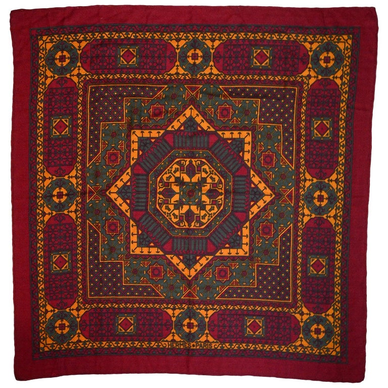 Hermes Maroon/Green/Mustard Silk/Cashmere Scarf 90cm For Sale