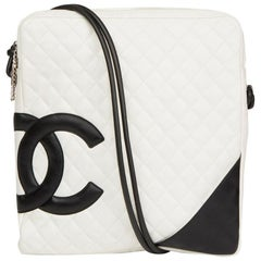 2004 Chanel White Quilted Calfskin Leather Large Cambon Messenger