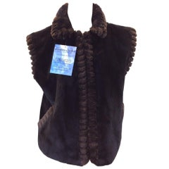 Black and Brown Sheared Beaver Vest