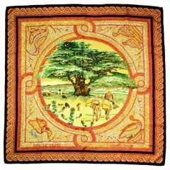 Hermes Orange/Yellow/Green Sous Le Cedre Mosaic Silk Scarf