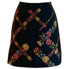 Moschino Cheap & Chic 1990s Floral Ribbon Trim Short Skirt Charcoal Grey Black
