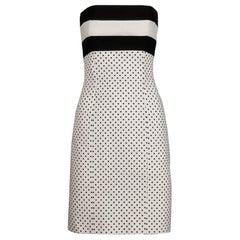 1980s Escada Vintage Black + White Polka Dot Striped Print Strapless Dress