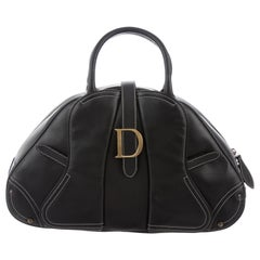 "Christian Dior Black Leather Gold ""D"" Charm Buckle Top Handle Satchel Bag"