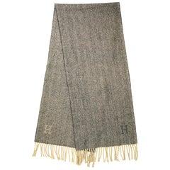 Hermes Grey/Cream Herringbone Cashmere/Wool Scarf W/ Fringe