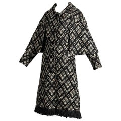1970s Vintage Black + White Irish Wool Tweed Cape Coat with Fringe Trim