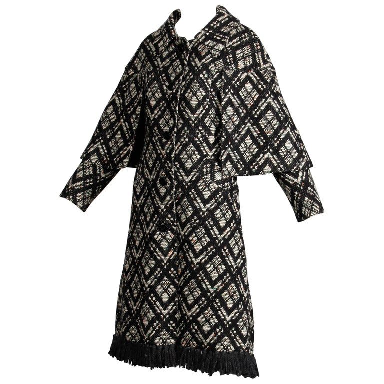1970s Vintage Black + White Irish Wool Tweed Cape Coat with Fringe Trim For Sale