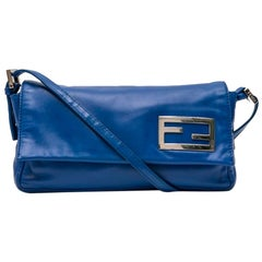 FENDI Baguette Bag in Smooth Electric Blue Leather