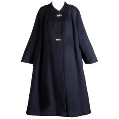 1960s Vintage Navy Blue Wool Swing Coat with Silver Buttons by Greenleaf