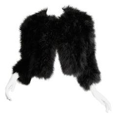 """1980s Adrienne Landau Vintage Black Marabou Feather """"Fur"""" Runway Jacket"""