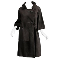 Rare 1960s Loewe Vintage Black Suede Leather Swing Coat with Cropped Sleeves