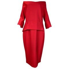 Roland Mouret NWT Red Ardingly Off-The-Shoulder Peplum Dress Sz 16 RT. $1,500