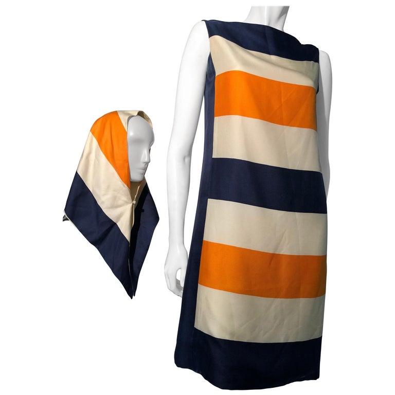 1960s Teal Traina Silk Color Block Mod Shift Dress W/ Head Wrap For Sale