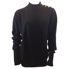 Chanel Black Cashmere Sweater with Gold Buttons