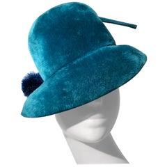 1960s Adolfo Turquoise Fur Felt Mod Hat W/ Pom Pom