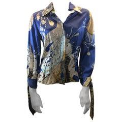 Roberto Cavalli Blue Print Silk Blouse