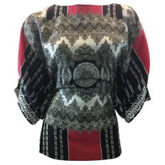 Etro Black, White, and Red Print Silk Blouse
